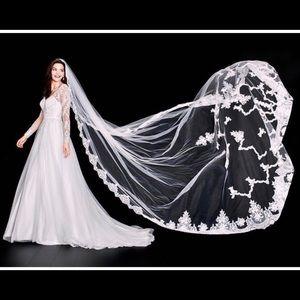 David's bridal ivory cathedral veil